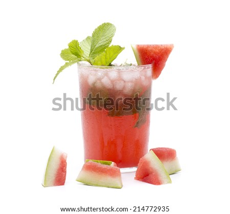 a popular and refreshing cocktail, but version watermelon - stock photo