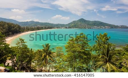 A popular Kamala beach seen from the hill in Phuket Thailand - stock photo