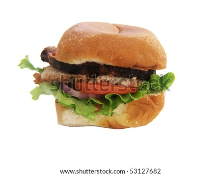 a pork loin sandwich isolated on a white background