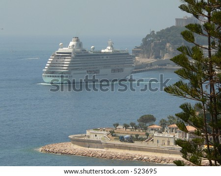 A port view of the beautiful city of Monaco - stock photo