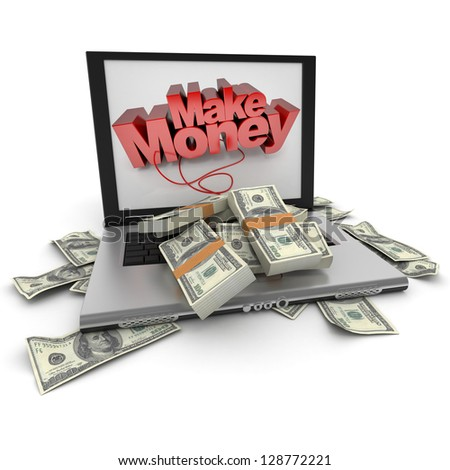 A portable computer with  make money written on the screen, with the keyboard cover in hundred dollar bills - stock photo