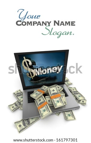 A portable computer with  money written on the screen, with the keyboard cover in hundred dollar bills - stock photo
