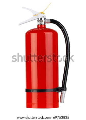 A portable fire extinguisher tank for any safety accidental the image isolated on white - stock photo