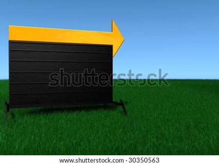 A portable sign with a large orange arrow on top. - stock photo