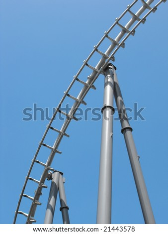 A portion of a roller coaster track.