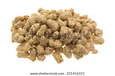 A portion of crumbled Italian sausage for pizzas isolated on a white background.