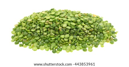 A portion of organic green split peas isolated on a white background. - stock photo
