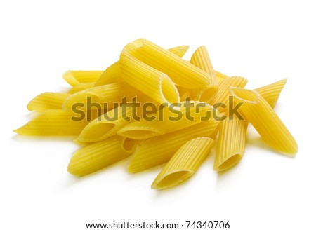 A portion of penne pasta isolated on white - stock photo
