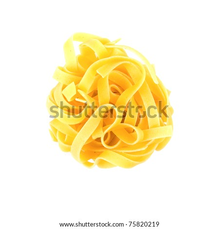 A portion of tagliatelle italian pasta isolated on white - stock photo
