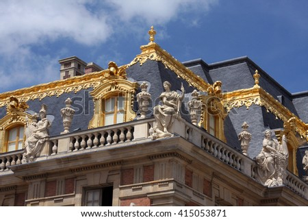 A Portion of the Front Facade of Famous Palace of Versailles. The Palace Versailles was a Royal Chateau Located Near Paris France. - stock photo