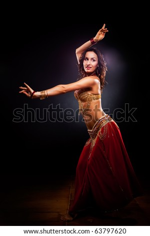 A portrait of a beautiful belly dancer