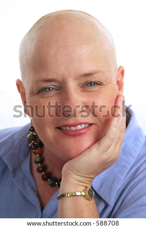 A portrait of a beautiful cancer survivor with a positive attitude. - stock photo