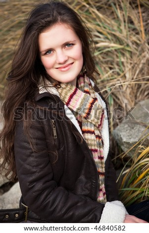 A portrait of a beautiful teenager outdoor - stock photo