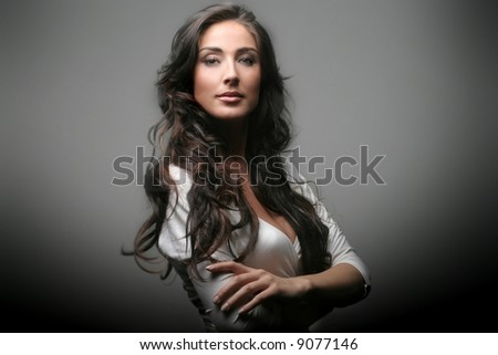 a portrait of a beautiful woman - stock photo