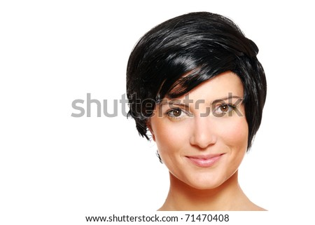 A portrait of a beautiful woman in short black hair smiling against white background, a lot of space for text - stock photo