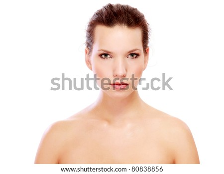 A portrait of a beautiful woman isolated on white - stock photo
