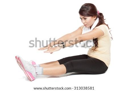 A portrait of a beautiful young asian woman doing stretching, indoor