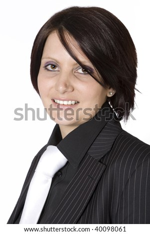 A portrait of a beautiful young professional woman in a black pinstripe suit and a white tie, isolated on white background. - stock photo