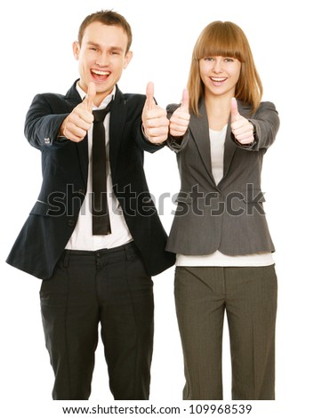 A portrait of a businesswoman and a businessman standing and showing ok isolated on white background - stock photo