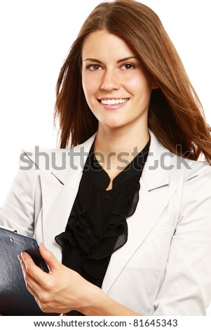 A portrait of a businesswoman holding a folder, isolated on white