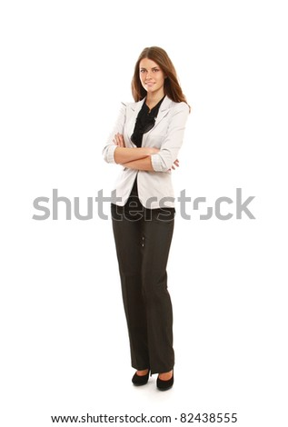 A portrait of a businesswoman, standing isolated on white - stock photo