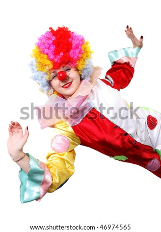 A portrait of a clown-girl in a wig and a fancy costume