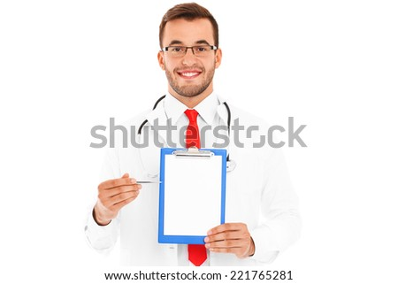 A portrait of a confident young doctor showing documents over white background - stock photo
