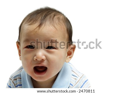 A portrait of a crying baby boy (isolated) - stock photo
