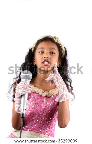 Indian girl in a singing performance, on white background. - stock
