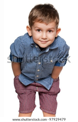 A portrait of a cute little boy; isolated on the white background - stock photo