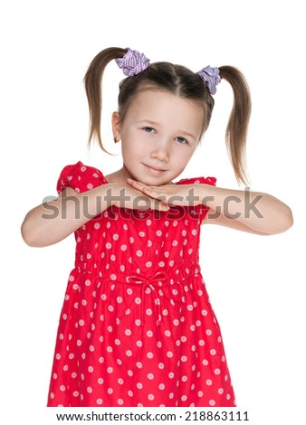 A portrait of a cute little girl on the white background - stock photo