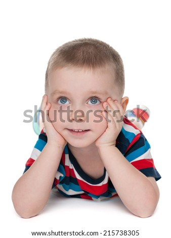 A portrait of a cute preschool boy on the white background - stock photo