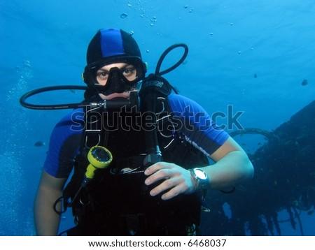 A portrait of a diver - stock photo