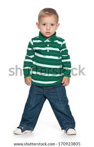 A portrait of a fashion preschool boy on the white background - stock photo