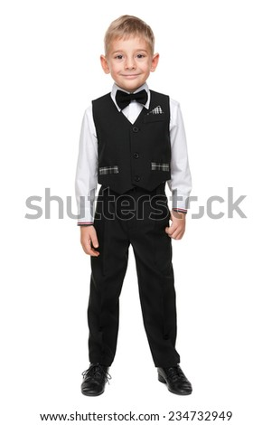 A portrait of a fashion preschool boy on the white background - stock photo