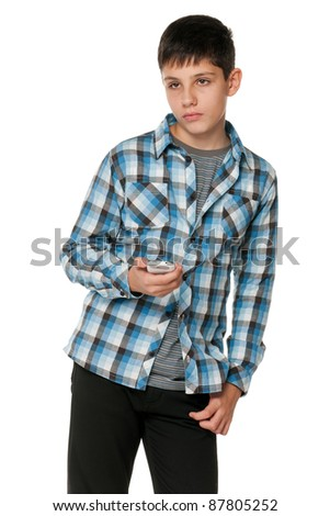 A portrait of a fashion thoughtful teen; isolated on the white background - stock photo