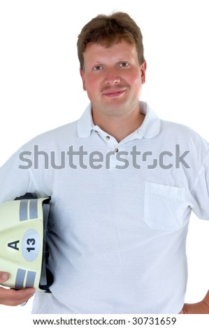 a portrait of a first aid man - medic - stock photo