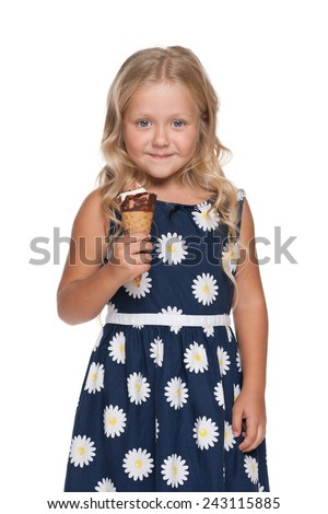 A portrait of a girl with ice cream on the white background - stock photo