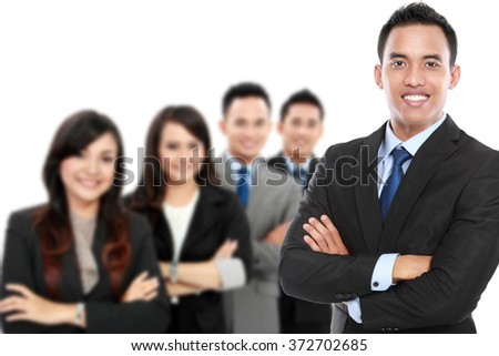 A portrait of a group of asian young businessperson. team leader - stock photo