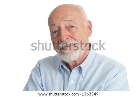A portrait of a handsome, intelligent senior man.  Isolated. - stock photo