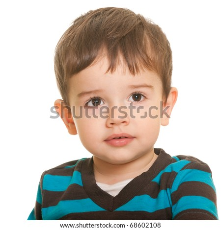 A portrait of a handsome little boy in casual isolated on the white background