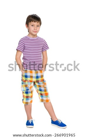 A portrait of a handsome little boy on the white background