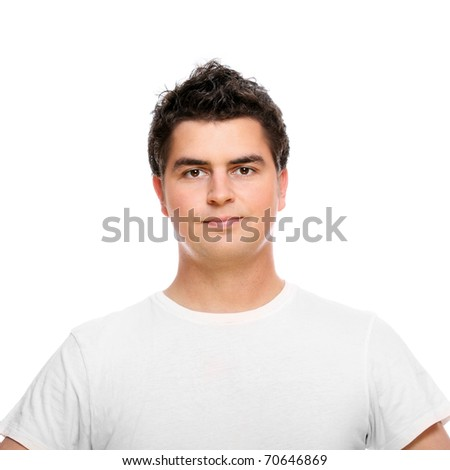 A portrait of a handsome man in t-shirt standing over white background