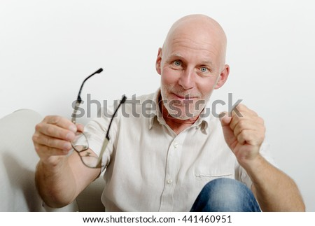 a portrait of a handsome mature man - stock photo