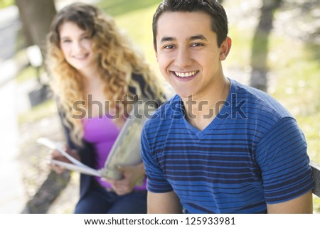 A portrait of a handsome young man - stock photo