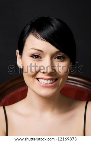 A portrait of a happy beautiful woman - stock photo