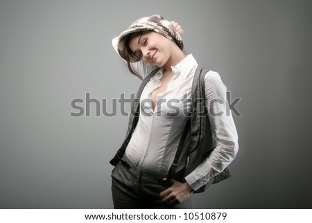 a portrait of a happy young woman - stock photo