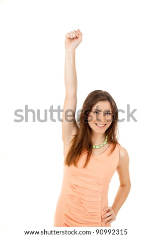 A portrait of a happy young woman with her hand up over white background - stock photo