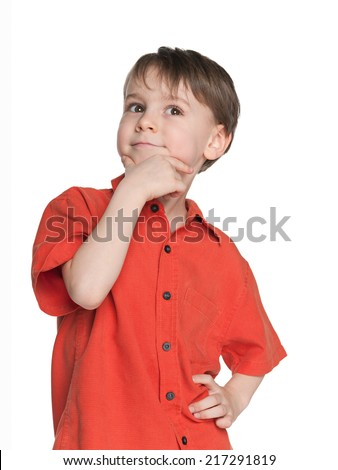 A portrait of a haughty little boy on the white background - stock photo