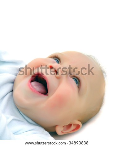 a portrait of a laughing baby isolated on white - stock photo